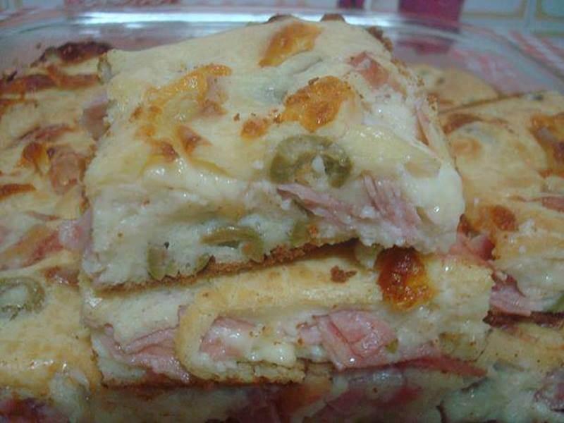 torta de queijo presunto e frango