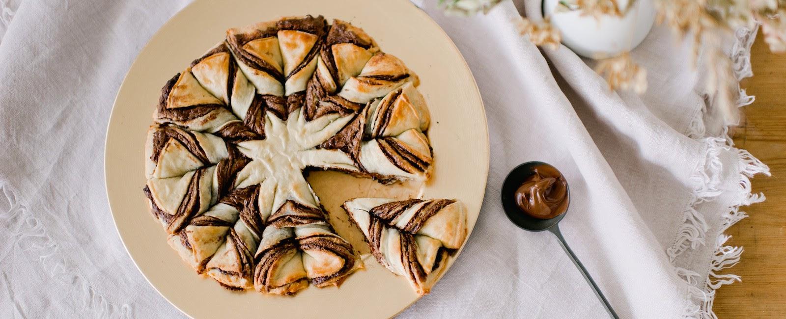 receita como fazer pão estrela flor nutella
