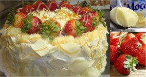 bolo branco morango