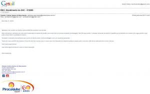 Resposta da Fabricante Piracanjuba. Clique na imagem para aumentar