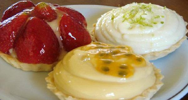 Tortinhas de Morango, Limão e Maracujá, já prontas