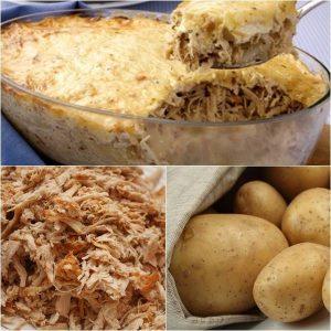 gratinado de batata e frango