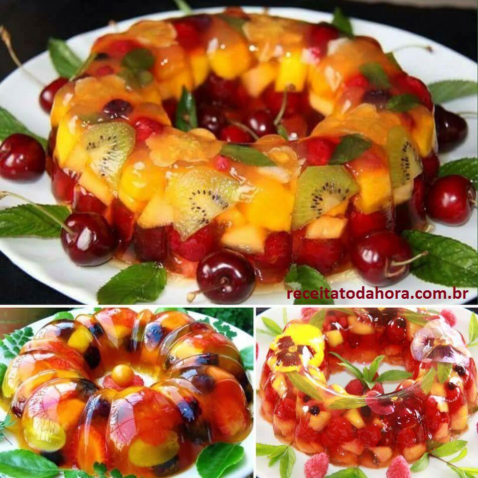 gelatina com frutas face