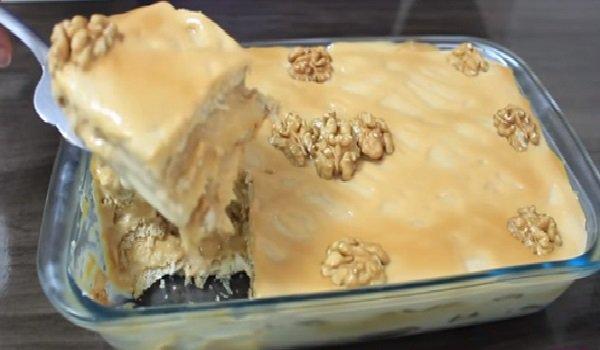 sobremesa de natal: pavê de doce de leite com nozes