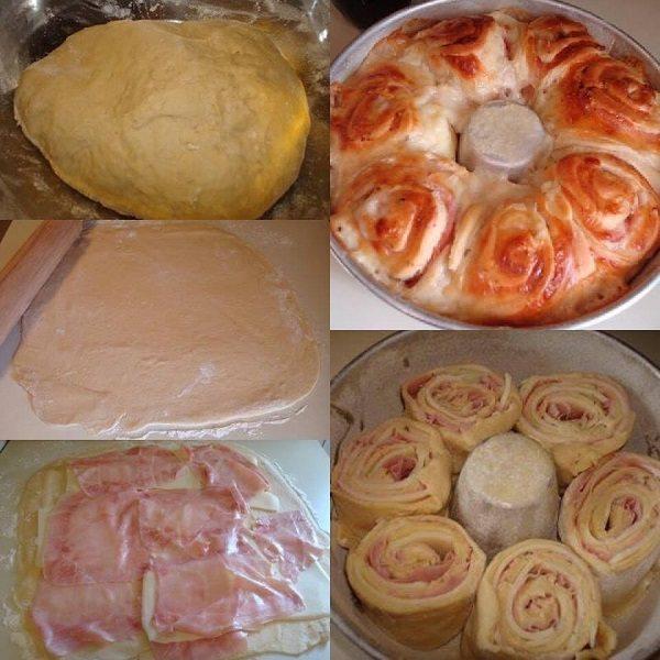 Rosca de Presunto e Queijo (Flor de Pão)