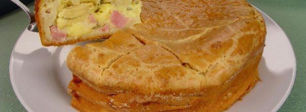 torta cremosa de queijo e presunto