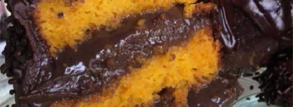 bolo de cenoura recheado com brigadeiro gourmet