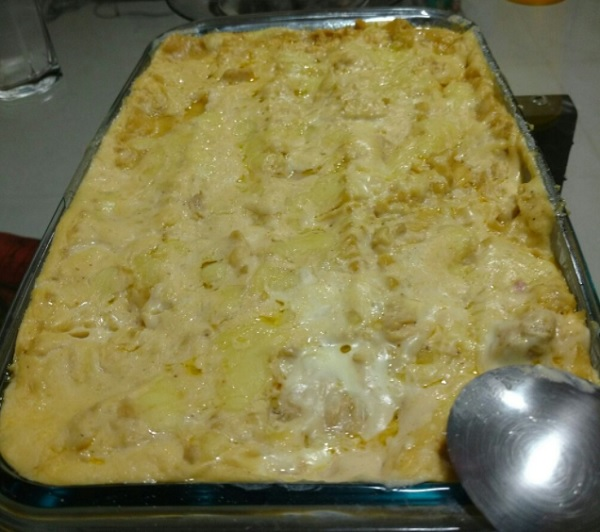 lasanha de frango com queijo e presunto