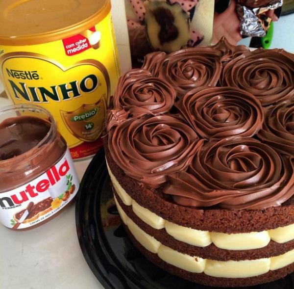 Naked Cake de Leite Ninho com Nutella