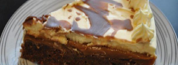 torta de brownie com doce de leite