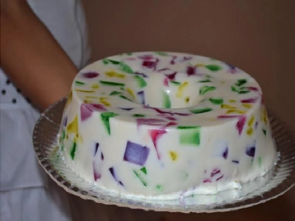 gelatina mosaico com leite de coco