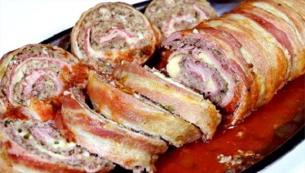 rocambole de carne com bacon